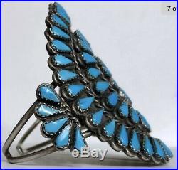Vintage Native American ZUNI Sterling Silver Turquoise Cluster Cuff Bracelet