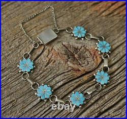 Vintage Native American Zuni Sterling Silver Turquoise Link Bracelet