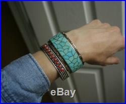 Vintage Native American Zuni Turquoise Sterling Silver Bracelet Carmichael Haloo