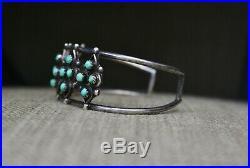 Vintage Native American Zuni Turquoise Sterling Silver Cuff Bracelet
