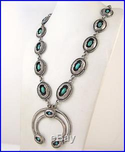 Vintage Navajo 925 Sterling Silver Turquoise Shadowbox Squash Blossom Necklace J