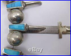 Vintage Navajo Bear Claw Artisan Necklace Sterling Silver Inlay Turquoise 242.2g