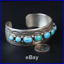 Vintage Navajo Blue Turquoise Sterling Silver. 925 stampwork bracelet jewelry