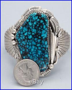 Vintage Navajo Bracelet HUGE Spiderweb Turquoise Sterling Silver Charlton Draper