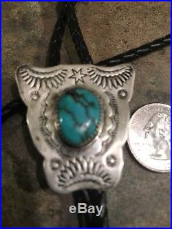 Vintage Navajo Handmade Solid 925 Sterling Silver Turquoise Leather Bolo Tie