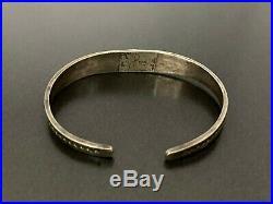 Vintage Navajo Indian Sterling Silver Turquoise Stampwork Bracelet Cuff
