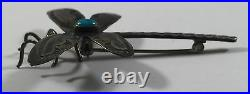 Vintage Navajo Indian Turquoise Sterling Silver Dragonfly Stampwork Pin Brooch