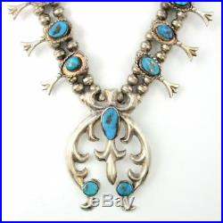 Vintage Navajo Old Pawn Sterling Silver Turquoise Squash Blossom Necklace 173g