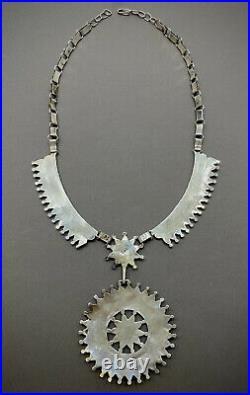Vintage Navajo Sterling Silver Gem Turquoise Squash Blossom Cluster Necklace
