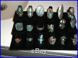 Vintage Navajo Sterling Silver Turquoise Ring Lot 18 Zuni Old Pawn