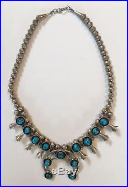 Vintage Navajo Sterling Silver Turquoise Squash Blossom Necklace Signed TSO