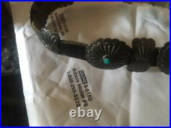 Vintage Navajo Sterling Silver and Turquoise Small Concho Belt