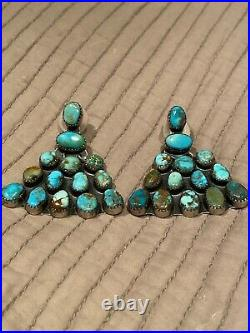 Vintage Navajo sterling silver with natural turquoise earrings