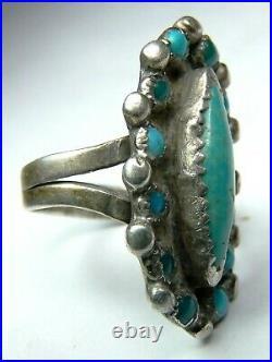 Vintage Old Pawn ZUNI Sterling Silver SNAKE EYE Petit Point TURQUOISE RING sz9