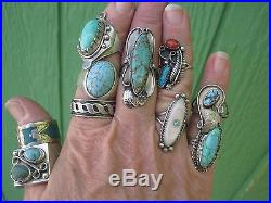 Vintage Southwest Native Sterling Silver Turquoise Rings Lot of 10