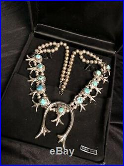 Vintage Squash Blossom Sterling Silver and Turquoise Necklace