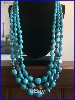Vintage Sterling Silver 3 Strand Turquoise Necklace 28 925 Southwestern
