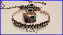 Vintage Sterling Silver 925 Turquoise Coral Zuni Ring Cuff Bracelet Necklace