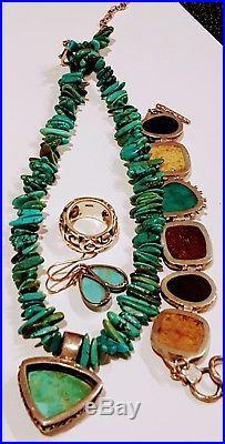 Vintage Sterling Silver 925 Turquoise Earrings Ring Bracelet Necklace 110 gram