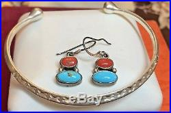 Vintage Sterling Silver Native American Coral & Turquoise Earrings Cuff Bracelet