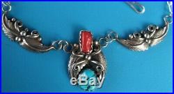 Vintage Sterling Silver Native American Red Coral/Turquoise Feather Necklace RM