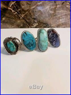 Vintage Sterling Silver Turquoise Navajo Native American 925 Signed Ring Lot