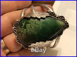 Vintage Taxco Mexico Sterling Silver Cuff Bracelet Large Green Turquoise (63.4g)