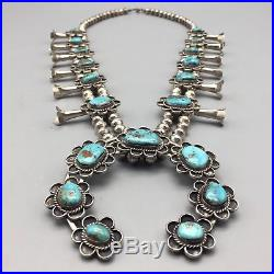 Vintage Turquoise & Sterling Silver Squash Blossom Necklace