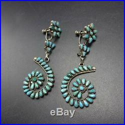 Vintage ZUNI Sterling Silver TURQUOISE Petit Point Cluster EARRINGS Repurposed