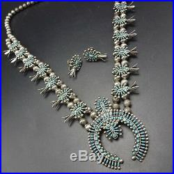Vintage ZUNI Sterling TURQUOISE Needlepoint SQUASH BLOSSOM Necklace Earrings SET
