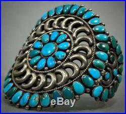 Vintage Zuni Native American Sterling Silver Turquoise Cluster Cuff Bracelet OLD