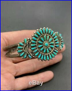 Vintage Zuni Sterling Silver Needlepoint Turquoise Cluster Cuff Bracelet