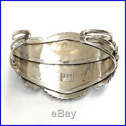 Vintage Zuni Sterling Silver Petit Point Cluster Turquoise Cuff Bracelet