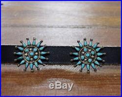 Vintage Zuni Turquoise Petit Point Sterling Silver Concho Belt