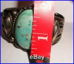 Vintage large sterling silver turquoise cuff bracelet old pawn Fred Harvey era