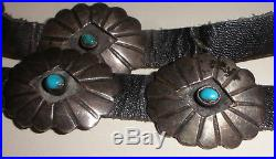 Vintage old pawn Fred Harvey era Navajo sterling silver turquoise Concho belt FC