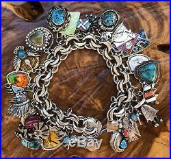Vintage sterling silver native american southwest turquoise charm bracelet