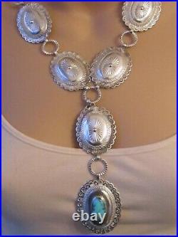 Vtg LRG Stamped sterling silver turquoise concho belt NECKLACE southwestern 110g