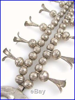 Vtg Navajo Handmade 925 Sterling Silver Turquoise Squash Blossom Necklace J MX