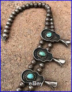 Vtg Navajo Sterling Silver Kingman Turquoise Shadow Box Squash Blossom Necklace