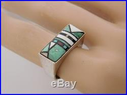 Vtg OLD PAWN Navajo Jim Harrison Sterling Silver Mosaic Inlay Turquoise Ring 6.5