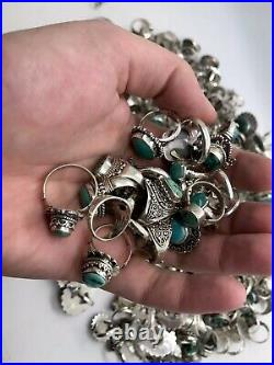 Wholesale Lot of 100 Grams Of Turquoise Sterling Silver 925 Rings Resale Bulk