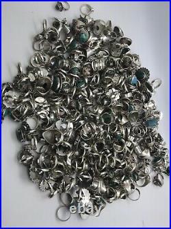 Wholesale Lot of 50 Gram Of Turquoise Sterling Silver 925 Rings Resale Bulk