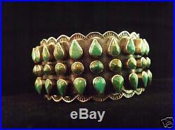Wide 3 Row Turquoise Bracelet Navajo Handmade