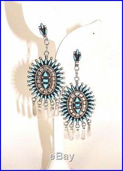Zuni Handmade Native American Sterling Silver/Turquoise Dangle Earrings Evonne