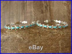 Zuni Indian Jewelry Sterling Silver Turquoise Hoop Earrings! B. Vacit