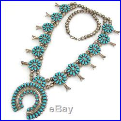 Zuni Signed Sterling Silver Petit Point Turquoise Squash Blossom Necklace RS A