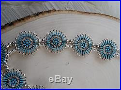 Zuni Squash Blossom and Earring Set Sterling Silver & Turquoise Iva Booqua