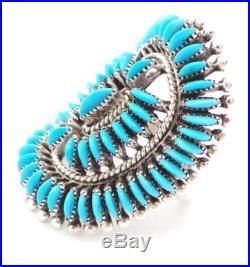 Zuni Sterling Silver Turquoise Needlepoint Cluster Ring Sz 6.5- Edith Tsabetsaye