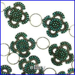 Zuni Sterling Silver Turquoise Needlepoint Clusters Link Concho 35 Belt